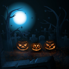 Scary Halloween pumpkins on the mist-shrouded cemetery.  Vector illustration.