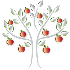 Apple tree on a white background, artistic cut out paper effect