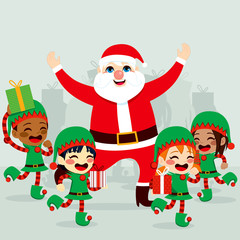 Santa Claus with little helper elves dancing around and preparing gifts to deliver on Christmas day