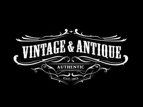 vintage badge border western antique frame label engraving retro