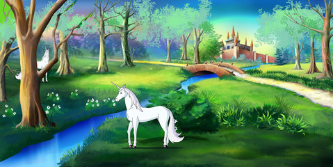 White Unicorn in a Magic Forest Near a Fairy Tale  Castle
