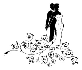 Abstract Wedding Pattern Bride and Groom Silhouette
