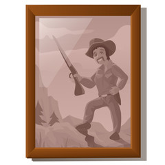 Wall picture in frame, portrait of American hunter