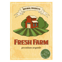 Vintage poster of fresh farm. Natural products, organic. Vector drawing in the graphic style. Sketch