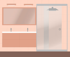 A pale pink bathroom with a big shower and two sinks