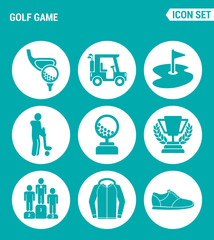 Vector set web icons. Golf game, car, flag, player, ball, cup, reward, sportswear, sneakers. Design of signs, symbols on a turquoise background