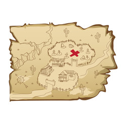 Map in wild West style with village and cemetery