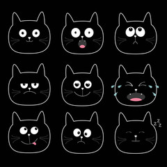 Cute black cat head set. Funny cartoon characters. Different emotions faces collection. Expression face icons Crying, happy, smiling, snoring, sad, angry kitten. Cat feelings White background.  Flat