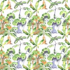 trees, watercolor, pattern