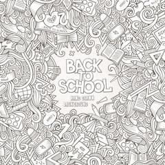 Cartoon vector doodles hand drawn school frame