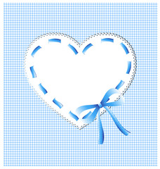 blue heart with sewing