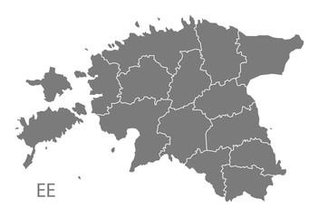 Estonia counties Map grey