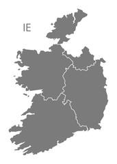 Ireland provinces Map grey