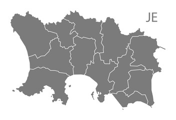 Jersey with parishes Map grey