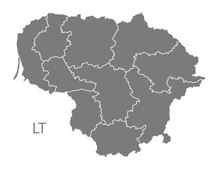 Lithuania counties Map grey