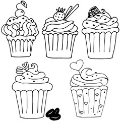 cake, cupcake drawn in outline isolated on white background