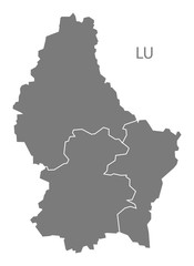 Luxembourg districts Map grey