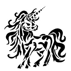 unicorn for coloring or tattoo isolated on white background