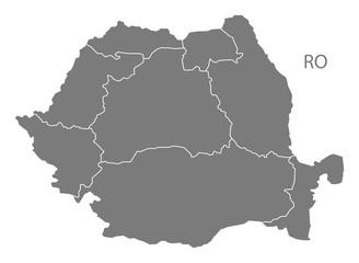 Romania regions Map grey