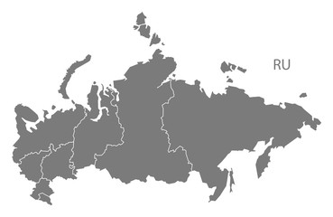Russia districts Map grey