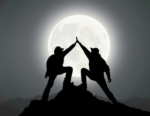 silhouette of 2 men,mountain top, moonlight