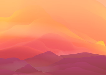 Abstract Smooth Blurred Mountain Landscape with Reflection - Vector Illustration