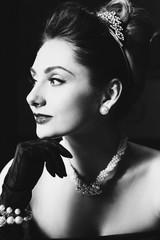 Portrait of beautiful woman like a famous actress