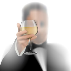 Successful businessman toasting with wine on white background