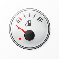 Fuel gauge. Empty. With chrome frame. Vector illustration on white background