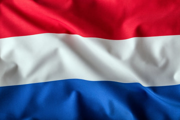 Netherlands flag waving in the wind. Holland flag. Dutch flag.