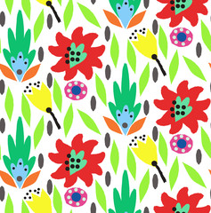 Ornamental, traditional, simple seamless pattern with flowers