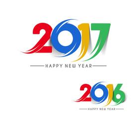 Happy new year 2017 & 2016 Text Design vector