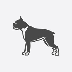 Boxer icon black simple. Singe dog icon from the dog breads set - stock vector