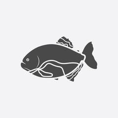 Piranha fish icon black. Singe aquarium fish icon from the sea,ocean life set.
