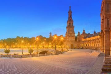 View of Spain Square on sunset, landmark in Renaissance Revival style, Seville, Spain