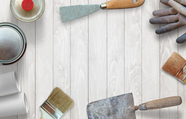Prepare for spring cleaning and repair. Tools and accessories on the table.