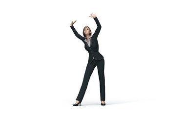 business woman under virtual glass ceiling