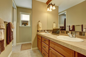 Bathroom interior with wooden cabinets and big mirror