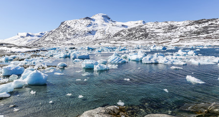Iceberg lagoon, nearby Qoornoq former fishermen village, Greenla