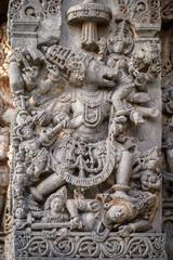 Carvings of Lord Ganesha in the Hoysaleshwara Hindu temple, Halebid, India