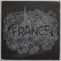 France country hand lettering and doodles elements