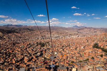 Cable cars or funicular in La Paz, Bolivia