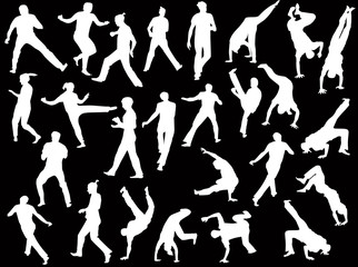 twenty six fighter silhouettes isolated on black