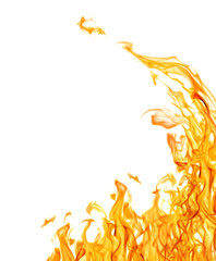 Canvas Prints Fire / Flame dark yellow flame corner isolated on white