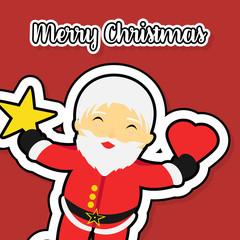 Flat Merry Christmas banner. Flat Santa Claus holding a heart and star. Flat red color background
