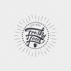 Fresh food - labels, stickers, hand lettering, was written with the help of calligraphy skills and collected templates using typographic rules