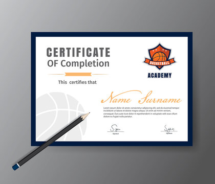 Vector template for certificate of basketball training course