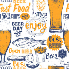 Seamless pattern with beer, snack in sketch style.