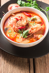 tom yum goong Interesting cuisine of Thailand.