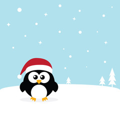 Penguin standing on white snow in Antarctica's winter background. Cute Penguin cartoon flat design vector illustration.